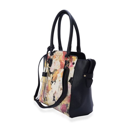 Linea Multi Colour Floral Pattern Black Colour Tote Bag with External Zipper Pocket and Adjustable and Removable Shoulder Strap (Size 40x31x10 Cm)