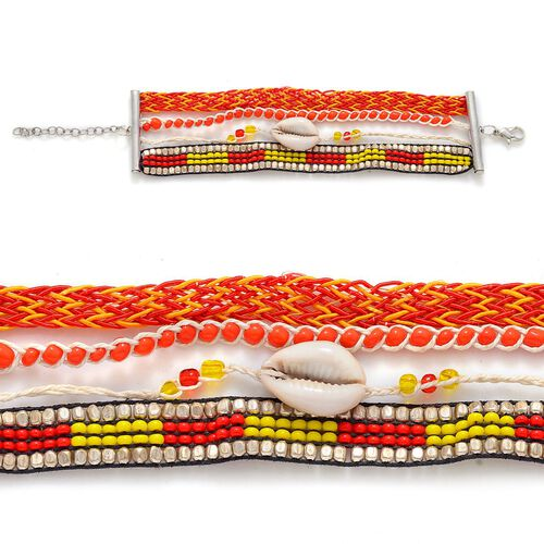 Cowry Shell Red Hipanema Style Bracelet in Silver Tone