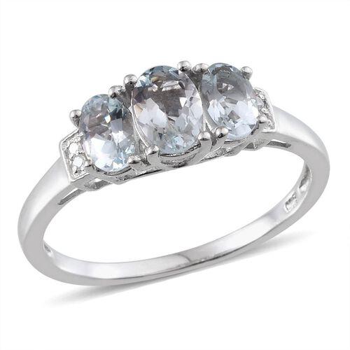 Espirito Santo Aquamarine (Ovl 0.75 Ct), Diamond Ring in Platinum Overlay Sterling Silver 1.670 Ct.