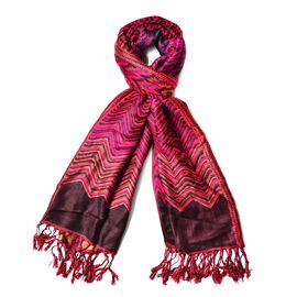 Red, Black, Golden and Multi Colour Zig Zag Pattern Fuchsia Colour Scarf (Size 180x70 Cm)