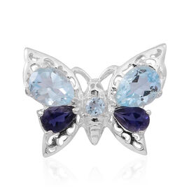 Sky Blue Topaz (Pear), Iolite Butterfly Pendant in Sterling Silver 2.750 Ct.