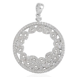 JCK Vegas Collection AAA Simulated Diamond (Rnd) Pendant in Rhodium Plated Sterling Silver