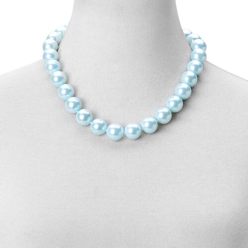 Rare Big Size Light Blue Shell Pearl (16 mm) Ball Beads Necklace (Size 20) in Rhodium Plated Sterling Silver with Magnetic Clasp