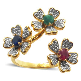 Kanchanaburi Blue Sapphire (Rnd), African Ruby and Kagem Zambian Emerald Triple Floral Ring in 14K Gold Overlay Sterling Silver 1.000 Ct.