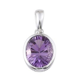 Concave Cut Brazilian Amethyst (Ovl) Solitaire Pendant in Sterling Silver 3.000 Ct.