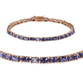 AA Tanzanite (Ovl) Tennis Bracelet (Size 7.5) in 14K Gold Overlay Sterling Silver 9.250 Ct.