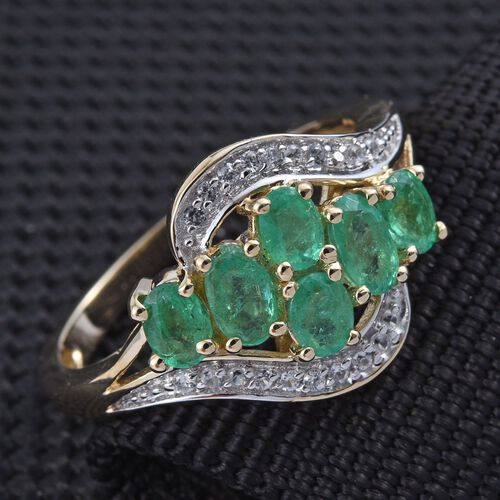 9K Y Gold Boyaca Colombian Emerald (Ovl), Natural Cambodian Zircon Ring 1.250 Ct.