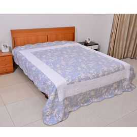 100% Cotton White, Blue and Chocolate Colour Floral and Stripe Pattern 4 Season Quilts (Size 260x240 Cm)