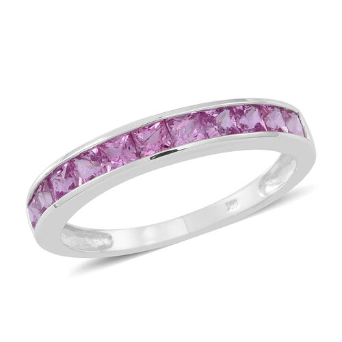 9k white gold pink sapphire sqr half eternity band ring