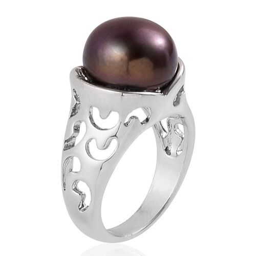 Fresh Water Peacock Pearl (13-14mm) Solitaire Ring in Silver Tone
