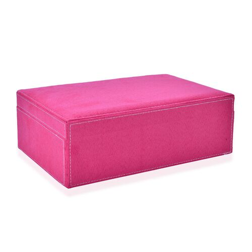 Pink Colour Velvet Jewellery Box with Mirror Inside (Size 25X16X8.5 Cm)