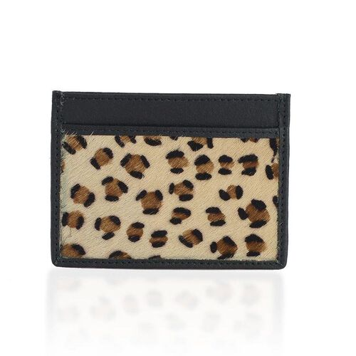 Genuine Leather Leopard Pattern Beige and Chocolate Colour Colour Card Holder (Size 10x8 Cm)