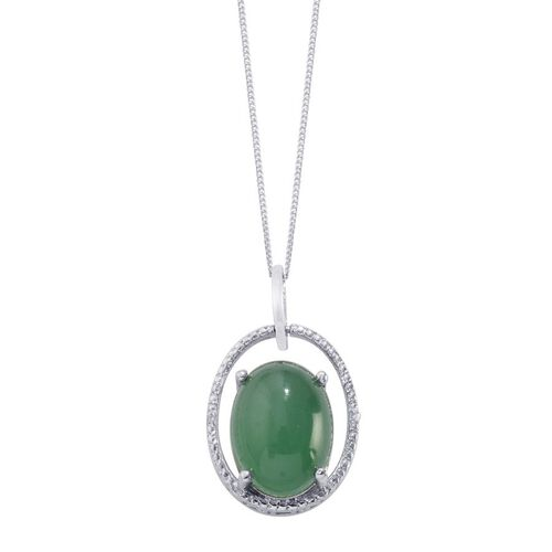 Emerald Quartz (Ovl 11.75 Ct), Diamond Pendant With Chain in Platinum Overlay Sterling Silver 11.760 Ct.