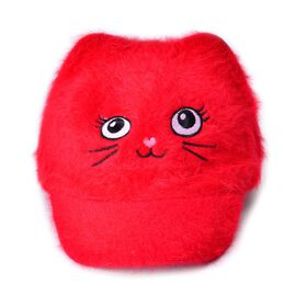 Red Colour Cat Face Child Cap (Size 25 Cm)