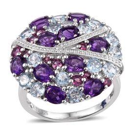 GP Amethyst (Ovl), Rhodolite Garnet, Sky Blue Topaz and Kanchanaburi Blue Sapphire Ring in Platinum Overlay Sterling Silver 7.000 Ct.