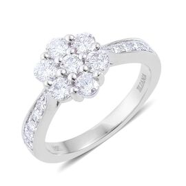 ILIANA 18K W Gold IGI Certified Diamond (Rnd) (SI/ G-H) Floral Ring 1.000 Ct.