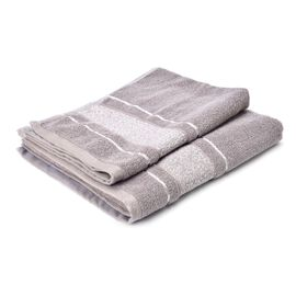 Set of 2 - Grey Colour 70% Bamboo and 30% Cotton Towel Large (Size 140x65 Cm) and Small (Size 70x50 Cm)