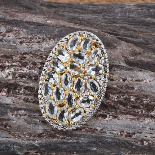 Espirito Santo Aquamarine (Ovl), Natural Cambodian Zircon Pendant in 14K Gold Overlay Sterling Silver 4.000 Ct.