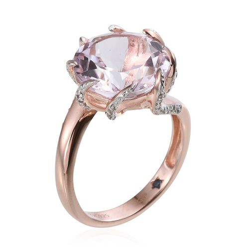 GP Rose De France Amethyst (Rnd 9.30 Ct), Natural Cambodian Zircon and Kanchanaburi Blue Sapphire Ring in Rose Gold Overlay Sterling Silver 9.750 Ct.