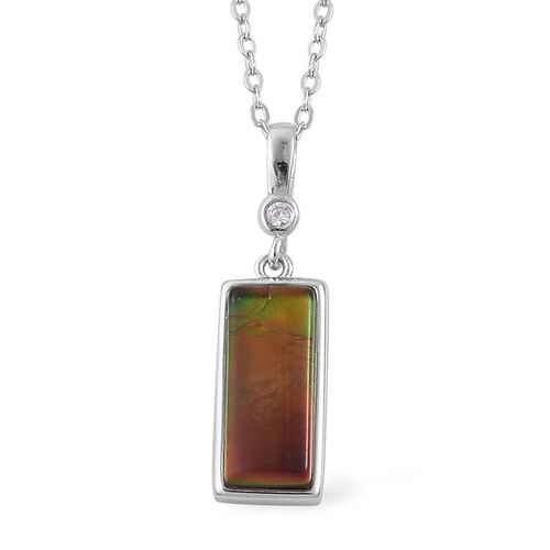 Canadian Ammolite (Bgt) Solitaire Pendant With Chain in Rhodium Plated Sterling Silver 1.750 Ct.