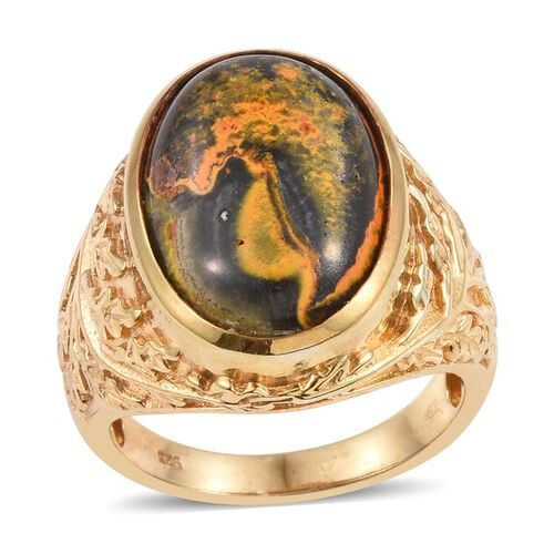 Bumble Bee Jasper (Ovl) Ring in 14K Gold Overlay Sterling Silver 11.500 Ct.