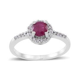 ILIANA 18K W Gold Burmese Ruby (Rnd 0.85 Ct), Diamond Ring 1.000 Ct.