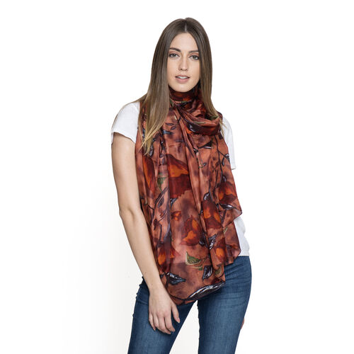 100% Mulberry Silk Brown, Orange and Multi Colour Abstract Pattern Printed Pareo (Size 180x100 Cm)