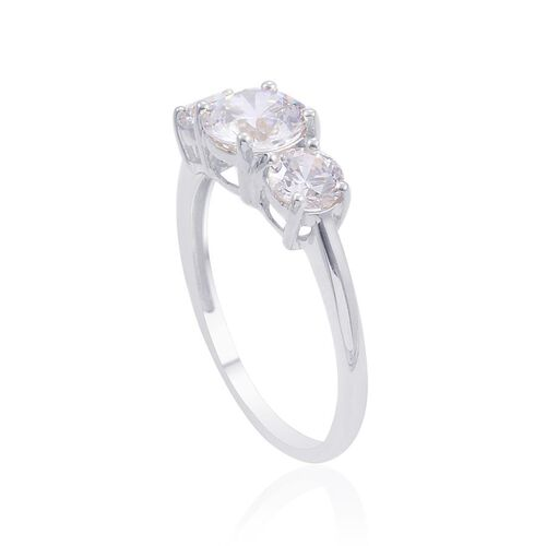 9K W Gold (Rnd) 3 Stone Ring Made with SWAROVSKI ZIRCONIA 2.200 Ct.