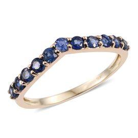 9K Yellow Gold 1 Carat Ceylon Blue Sapphire Wishbone Ring