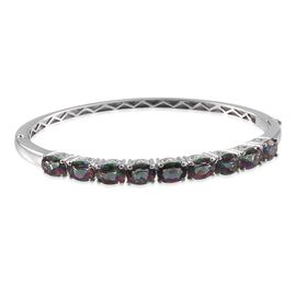 Northern Lights Mystic Topaz (Ovl) Bangle (Size 7.5) in Platinum Overlay Sterling Silver 11.250 Ct.