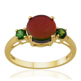 9K Y Gold Canadian Ammolite (Rnd 1.50 Ct), Russian Diopside Ring 1.750 Ct.