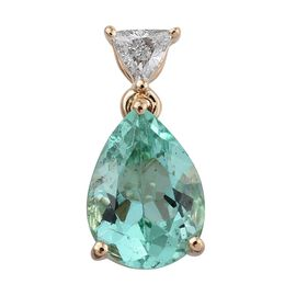 ILIANA 18K Yellow Gold Colombian Emerald (Pear 2.35 Ct), Diamond (SI G-H) Pendant 2.500 Ct.