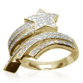 ELANZA AAA Simulated Diamond (Rnd) Shooting Star Ring in 14K Gold Overlay Sterling Silver