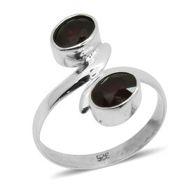 Royal Bali Collection African Ruby (Ovl) Crossover Ring in Sterling Silver 3.420 Ct.