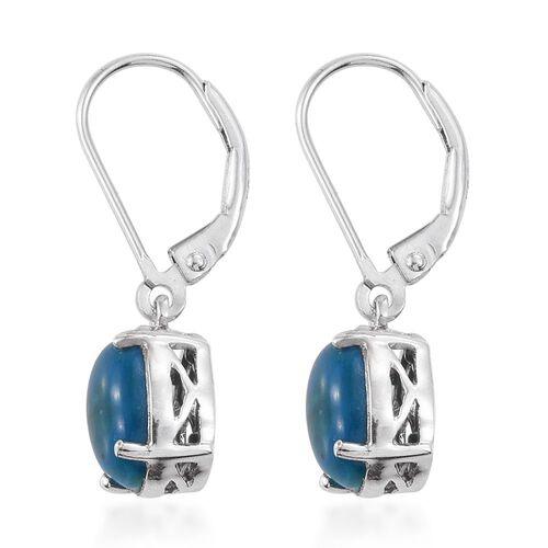 Natural Rare Opalina (Ovl) Lever Back Earrings in Platinum Overlay Sterling Silver 3.000 Ct.