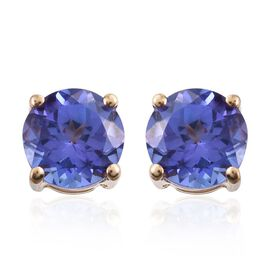 ILIANA 18K Yellow Gold 2 Carat AAA Tanzanite Round Solitaire Stud Earrings.