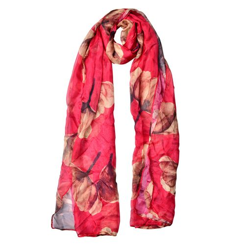 Red and Multi Colour Floral Pattern Scarf (Size 170 x70 Cm)