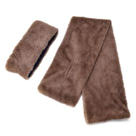 Set of 2 - Chocolate Colour Headband (Size 45x10 Cm) and Scarf (Size 90x15 Cm)