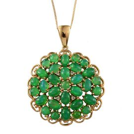 Green Ethiopian Opal (Ovl), White Topaz Cluster Pendant With Chain in 14K Gold Overlay Sterling Silver 9.900 Ct.