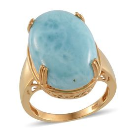 Larimar (Ovl) Solitaire Ring in 14K Gold Overlay Sterling Silver 20.000 Ct.