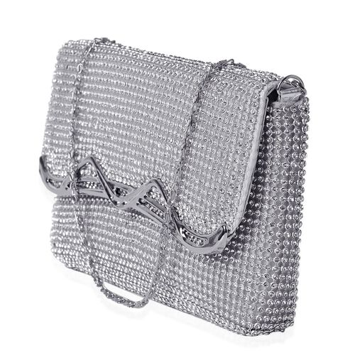 White Austrian Crystal Silver Tone Clutch Bag with Chain Strap (Size 19x11 Cm)