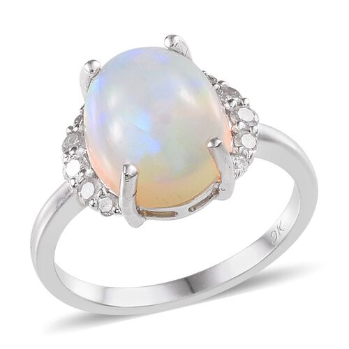 9K W Gold Ethiopian Welo Opal (Ovl 4.00 Ct), Diamond Ring 4.250 Ct.