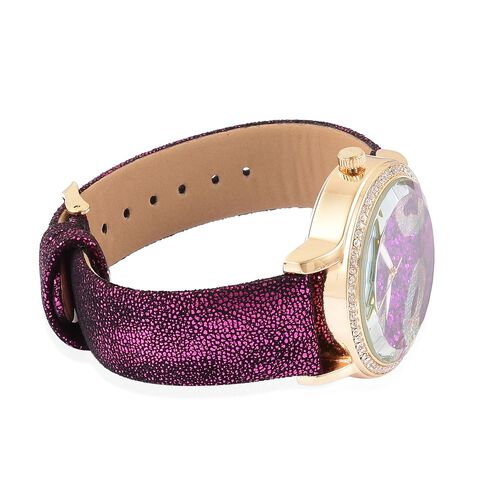 STRADA Japanese Movement Light Purple Stardust Dial with White Austrian Crystal Water Resistant Watch in Yellow Gold Tone with Stainless Steel Back and Black and Light Colour Strap