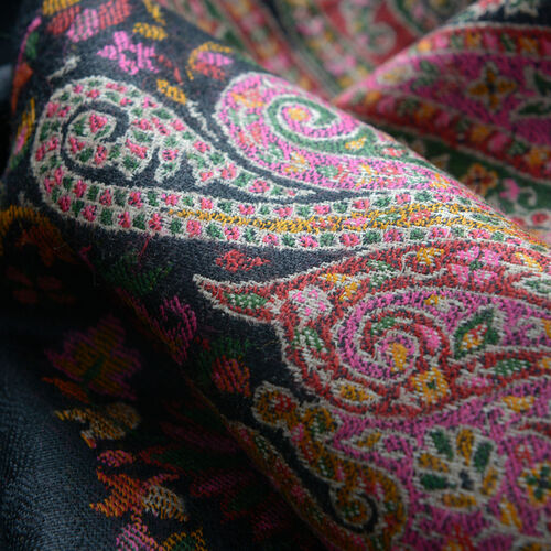 Designer Inspired 100% Merino Wool Multi Colour Paisley Embroidered Black Colour Scarf (Size 200x70 Cm)