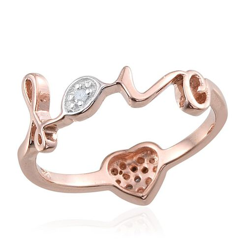 Diamond (Hrt) Love Ring in Rose Gold Overlay Sterling Silver 0.100 Ct.