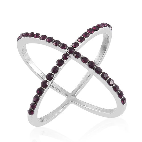 AAA Purple Austrian Crystal Criss Cross Ring in Stainless Steel