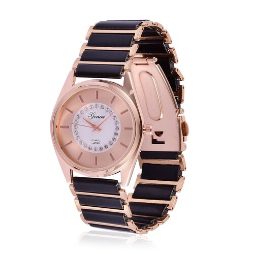 GENOA Japanese Movement White Austrian Crystal Rose Gold Colour Dial Water Resistant Watch in Rose Gold Tone with Stainless Steel Back and Black Ceramic Strap