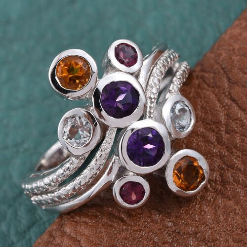 African Amethyst (Rnd), Brazilian Citrine, Sky Blue Topaz and Rhodolite Garnte Ring in ION Plated Platinum Bond 2.000 Ct.