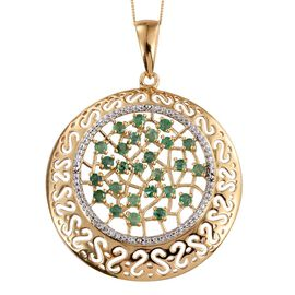 Kagem Zambian Emerald (Rnd) Pendant With Chain (Size 20) in 14K Gold Overlay Sterling Silver 1.750 Ct.