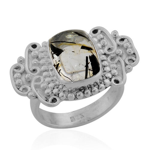 ARTISAN CRAFTED Black Rutile Quartz (Cush) Ring in Sterling Silver 6.500 Ct.